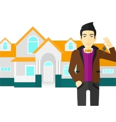 Real estate agent with key vector image vector image