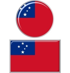 Samoa round and square icon flag vector