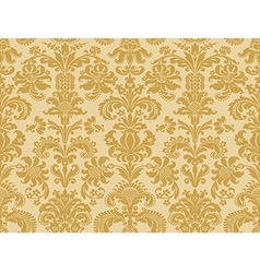 Seamless abstract floral damask background golden vector image vector image