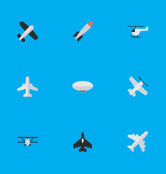 Set of simple airplane icons elements aircraft vector