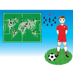 Soccer player with world map on blue background vector
