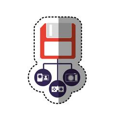 Sticker colorful diskette storage device icon vector