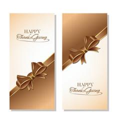 Thanksgiving greeting card set vector
