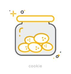 Thin line icons cookie vector