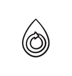 Water drop with circular arrow sketch icon vector