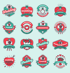 Wedding day photography agency fashion badges vector