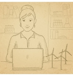 Woman working at laptop vector image vector image