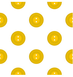 Yellow sewing button pattern flat vector