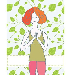 Yoga banner with girl and leaves vector image vector image