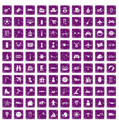 100 toys for kids icons set grunge purple vector