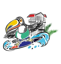 Toucan surfing in the ocean vector