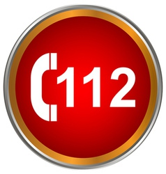 112 red icon vector image