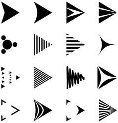 Set of simple black and white arrows icons vector