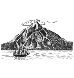 Ocean or sea with ship sails next to volcano or vector