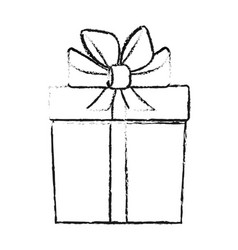 Blurred silhouette cartoon giftbox with wrapping vector