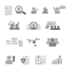 Set of human resource flat line icon vector