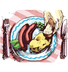 Two sausages for a lunch vector