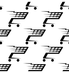 Seamless pattern of a speeding shopping cart vector