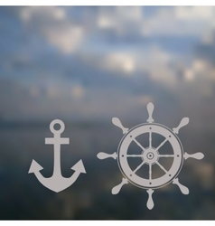 Nautical wheel and anchor in soft background vector