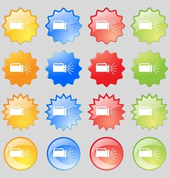 Flashlight icon sign big set of 16 colorful modern vector