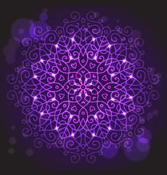 Abstract purple background with a round mandala vector image