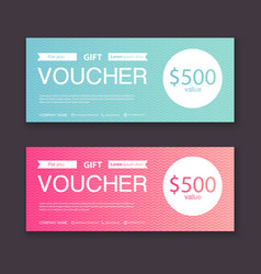 Gift voucher template with colorful pattern gift vector