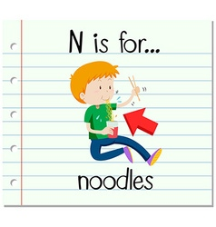 Flashcard letter n is for noodles vector