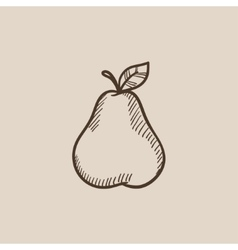 Pear sketch icon vector