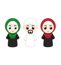 Set of muslim people vector