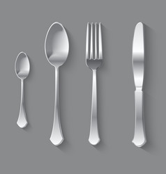 Silver fork spoon and knife top view vector