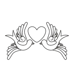 Heart and birds tattoo isolated icon design vector