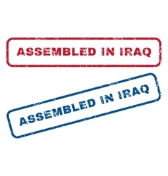 Assembled in iraq rubber stamps vector