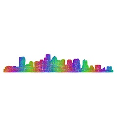 Boston skyline silhouette - multicolor line art vector image vector image