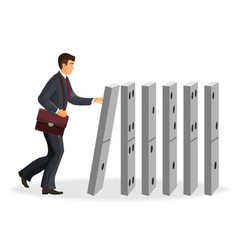 businessman with briefcase that drops down domino vector image