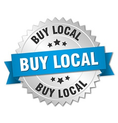 Buy local 3d silver badge with blue ribbon vector