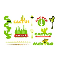 Cactus restaurant logo vector