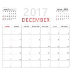 Calendar planner 2017 december week starts sunday vector