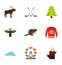 Canadian symbols icon set flat style vector