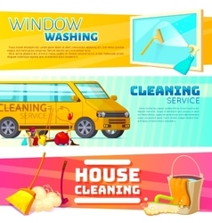 Cleaning service banner set vector