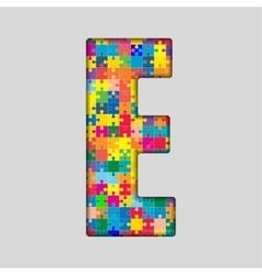 Color puzzle piece jigsaw letter - e vector
