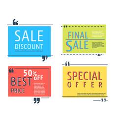 colored sale square template vector image