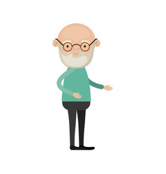 colorful full body bald elderly man in clothes vector image