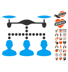 Drone clients connection icon with dating bonus vector