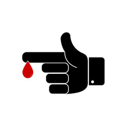 Finger with blood drop vector