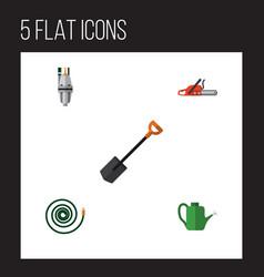 Flat icon dacha set of hacksaw hosepipe bailer vector