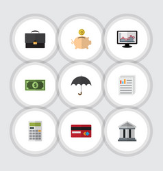 Flat icon finance set of money box chart parasol vector