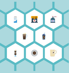 Flat icons coffeemaker latte paper box and other vector