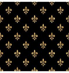 Golden fleur-de-lis seamless pattern black 4 vector
