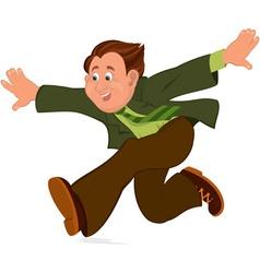 Happy cartoon man running with wide open hands vector
