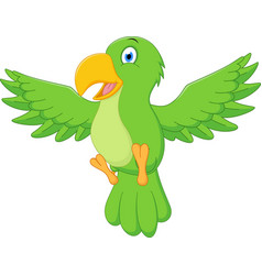 happy parrot cartoon flying vector image